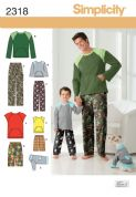 2318 Simplicity Pattern: Boys' & Men's Loungewear & Dog Top
